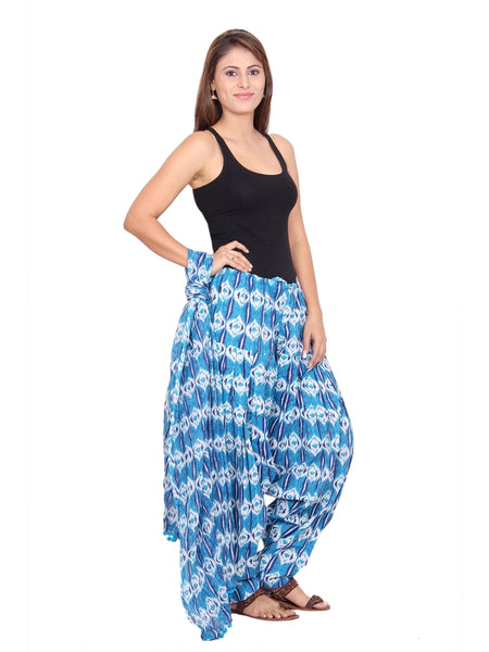Awesome Printed Blue Color Cotton Patiala Pant With Dupatta