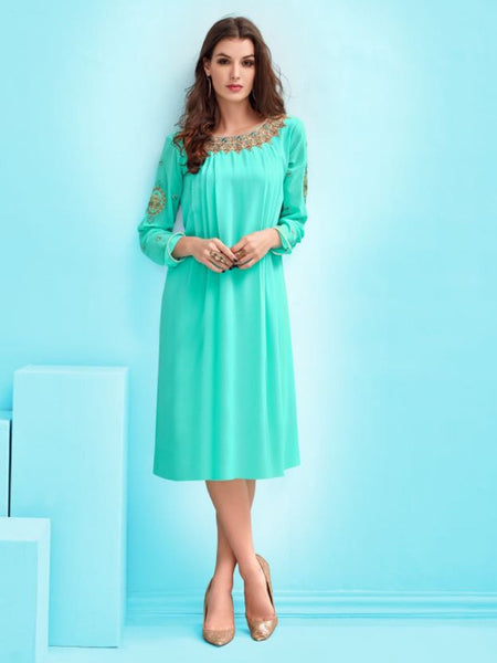 Cyan Blue Kurti with Inner