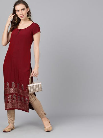 Maroon Silk Block Printed Straight Cut Kurti