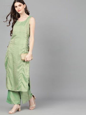 Green Cotton Silk Woven Straight Cut Kurti
