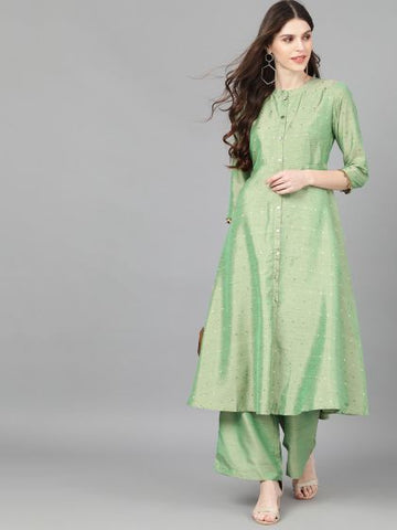 Green Cotton Silk Woven Anarkali Kurti