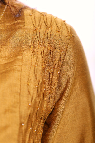 Mustard Cotton Silk Top with Beaded Smocking on Neck