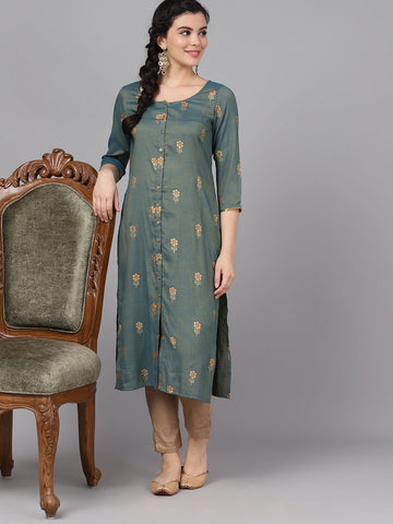 Grey Cotton Printed Straight Cut Kurti