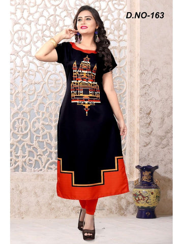Designer Digital Printed Black and Red Color Kurti
