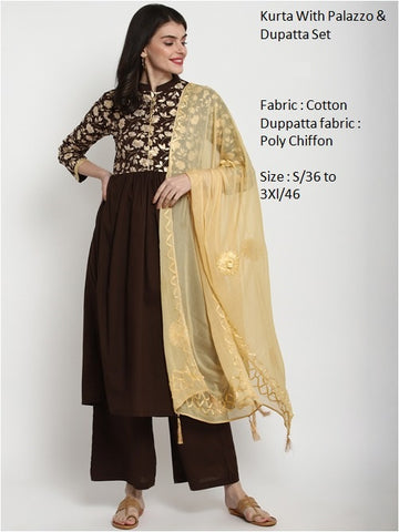 Brown Color Cotton Anarkali Suit