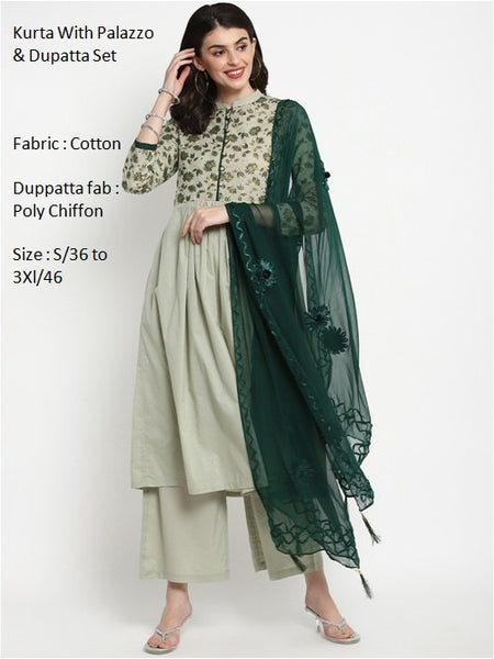 Olive Green Color Cotton Anarkali Suit