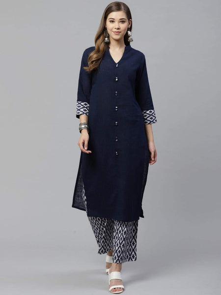 Navy Blue Cotton Straight Cut Kurti with Palazzo