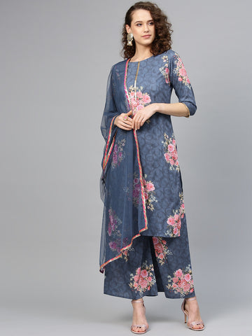Blue Pink Polyester Printed Straight Cut Suit