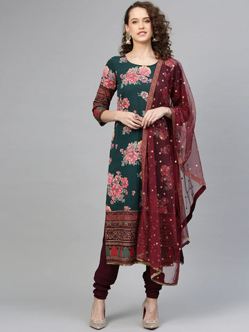 Green and Burgundy Polyester Printed Straight Cut Suit