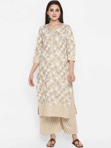 Beige Colour Straight Cut Kurti with Palazzo