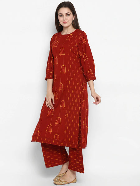 Maroon Colour Straight Cut Kurti with Palazzo