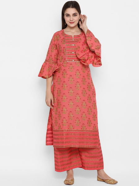 Coral Pink Straight Cut Kurti with Palazzo
