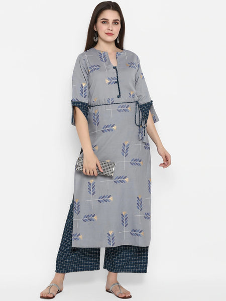 Grey Colour Straight Cut Kurti with Palazzo