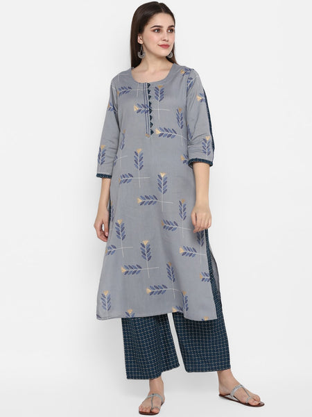 Grey And Blue Straight Cut Kurti with Palazzo