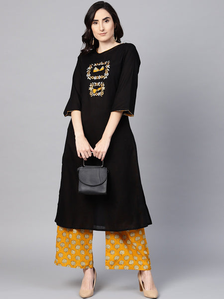 Black and Yellow Kurti with Palazzo