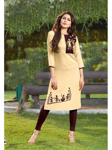 Beautiful Printed Beige and brown Color Rayon Kurtis