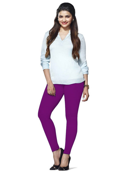 Violet Cotton Lycra Leggings - PurpleTulsi.com