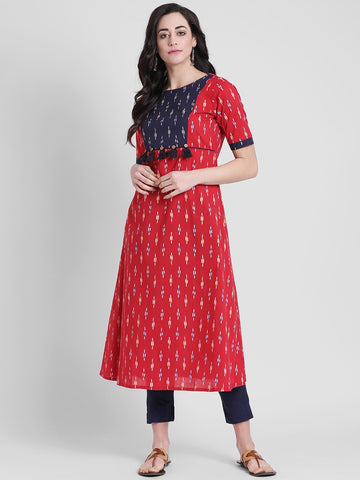 Designer Red Cotton Anarkali Kurti
