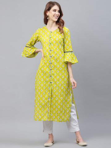 Lime Green Cotton Printed Straight Cut Kurti