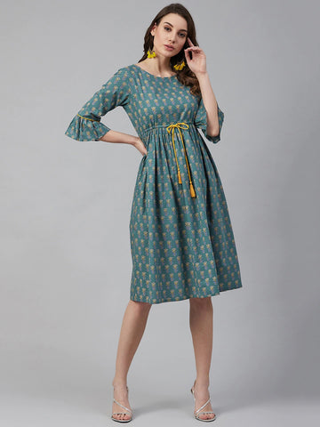 Teal Green Cotton Printed Dress