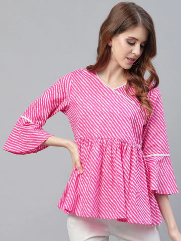 Beautiful Pink Cotton Printed Top