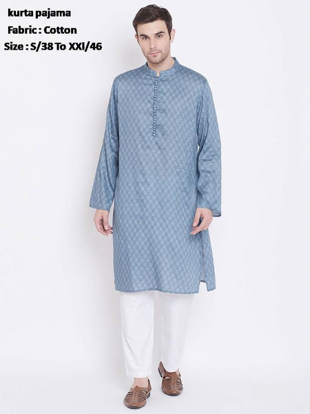 Men's Ethnic Cotton Long Kurta with Pyjama