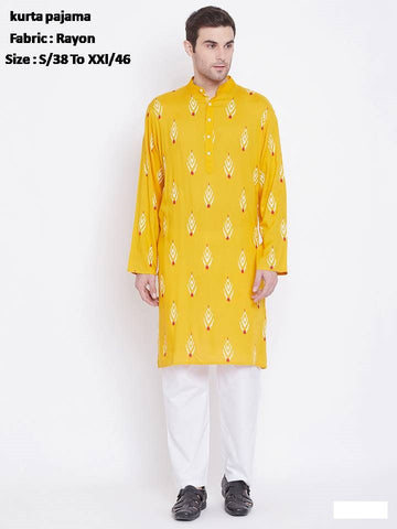 Men's Ethnic Rayon Long Kurta with Pyjama