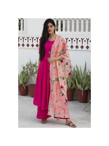 Designer and Beautiful Straight Cut Kurti with Palazzo and Dupatta