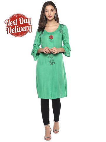Designer Straight Cut Green Rayon Kurtis