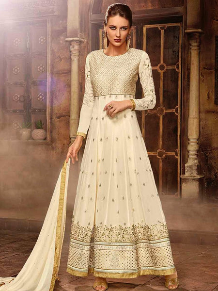 Off White Premium Anarkali Suit - PurpleTulsi.com  - 1