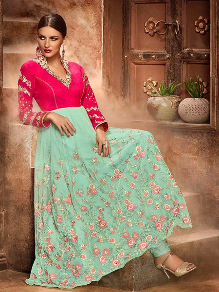 Arctic Blue and Magenta Premium Anarkali Suit - PurpleTulsi.com  - 1