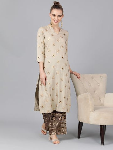 Brown Cotton Block printed Kurti with Palazzo
