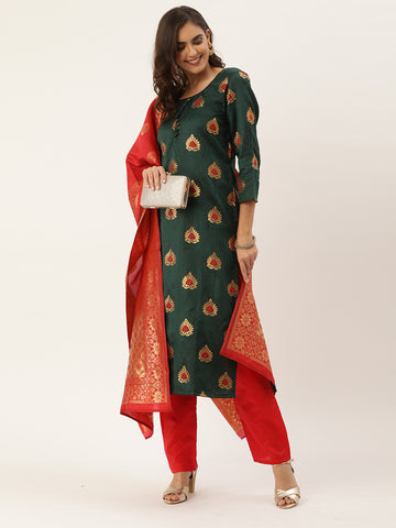 Green Jacquard Zari Woven Straight Cut Suit