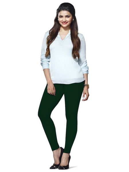 Green Cotton Lycra Leggings - PurpleTulsi.com