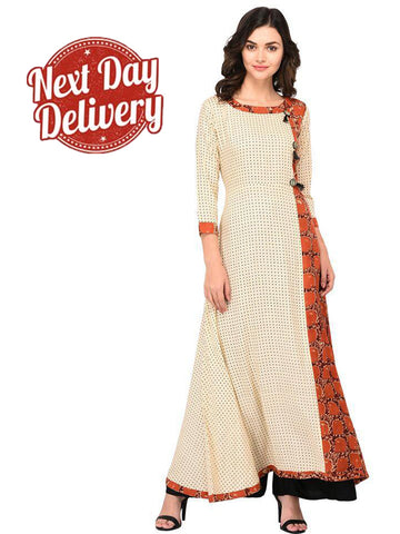 Designer Multi Color Rayon 3/4th Sleeves Kurti