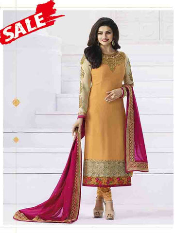 Prachi Desai Designer Yellow Color Embroidered Straight Cut Suit With Banarasi Dupatta