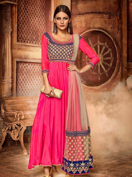 Hot Pink Premium Anarkali Suit - PurpleTulsi.com  - 1