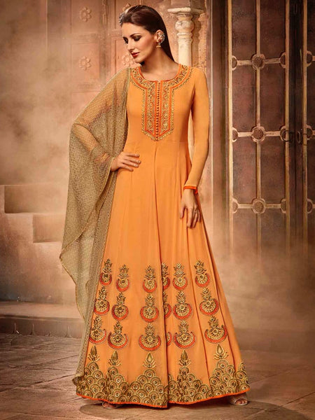 Beautiful Orange Premium Anarkali Suit - PurpleTulsi.com  - 1