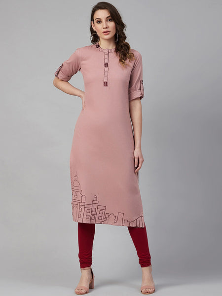 Dusty Pink Cotton Embroidered Straight Cut Kurti