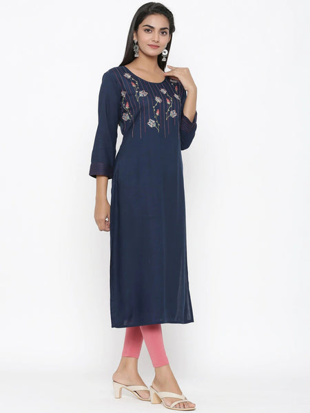 Navy Blue Rayon Embroidered Straight Cut Kurti