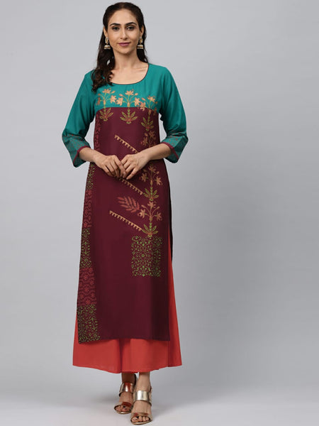 Multi Color Cotton Block Printed Straight Cut Kurti