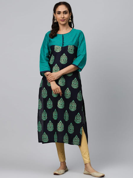 Multi Color Block Printed Straight Cut Kurti