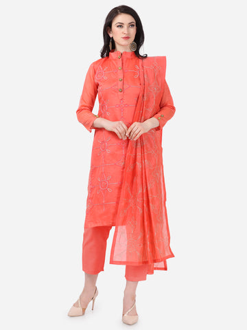 Pink Chanderi Silk Embroidered Straight Cut Suit