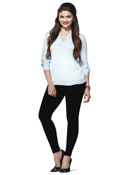 Black Cotton Lycra Leggings - PurpleTulsi.com