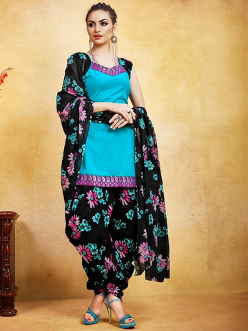 Elegant Light Blue and Black mix and match Patiala Suit