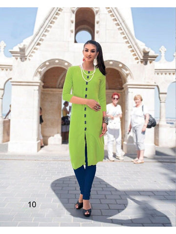 Plain Green Stitched Slit Kurti in XL Size