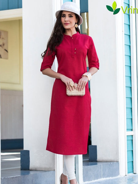 Classic Red Cotton Kurti