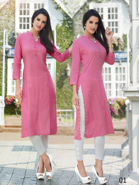 Taffy Pink Cotton Kurti