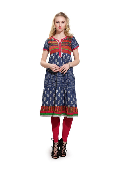 Beautiful Printed Blue Color Cotton Kurti