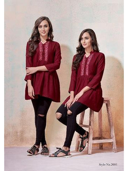 Designer Maroon Color Rayon Top